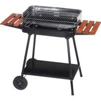 ALPERK - Barbecue sur roulettes avec tablettes bois