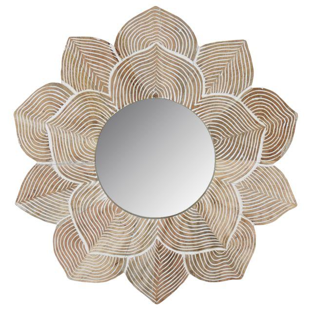 AUBRY GASPARD Miroir lotus en manguier et médium sculpté