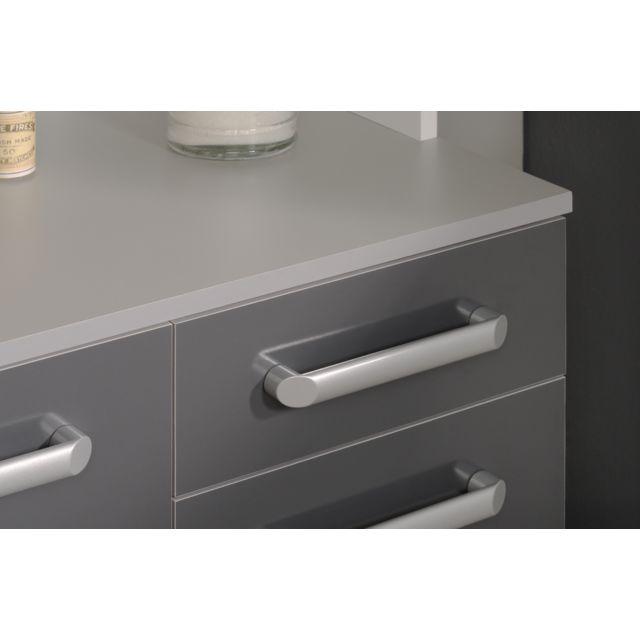 Last Meubles - Buffet Ultra gris brillant Blanc - 40cm x 185cm x 101cm