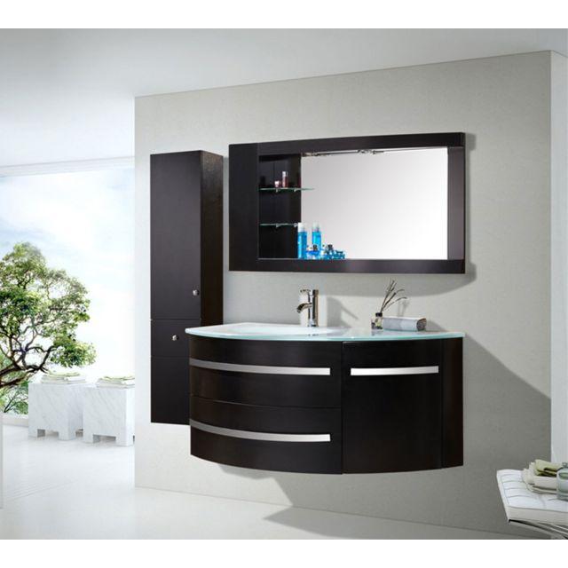 Meuble Salle De Bain Noir Vasque Luxe Lavabo mod. Black Ambassador 120 cm