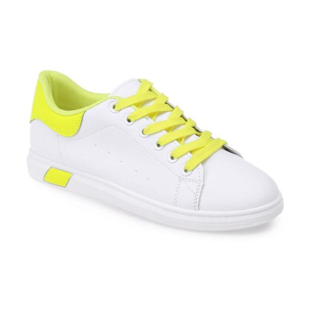 b837589b18c88f Lamodeuse - Baskets blanches à détails et lacets jaune fluo - pas ...
