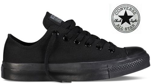 Converse - All Star Cuir Noir monochrome basse 045460 37 ...