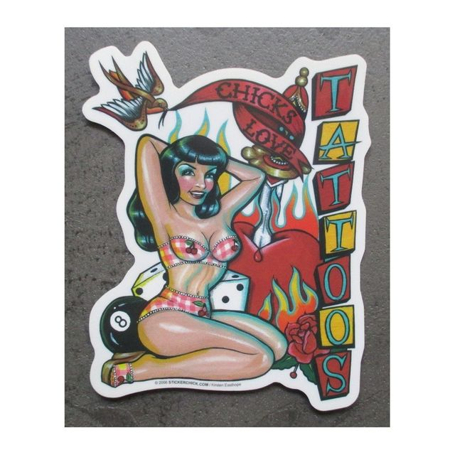 Universel Sticker pin up chics love tattoo autocollant rockabilly
