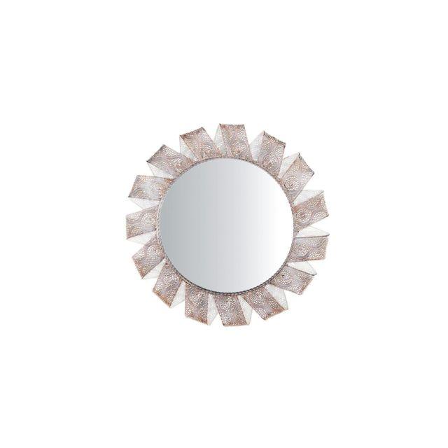 BELIANI Miroir rond blanc et cuivré MANGALORE - argent