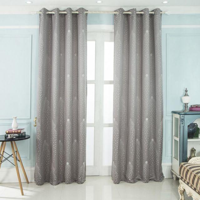 best interior paire de rideaux estrella gris dimensions 140x260 pas cher achat vente. Black Bedroom Furniture Sets. Home Design Ideas
