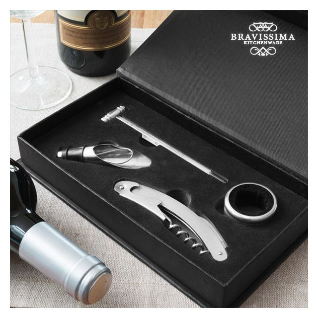 Totalcadeau Coffret d accessoires pour oenologue 4 pièces Accessoires cave à vin