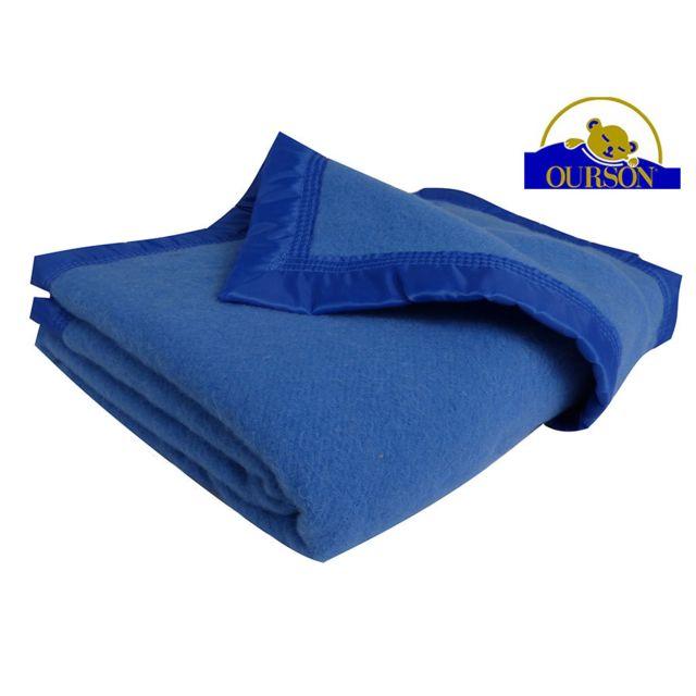 Ourson Couverture Pure Laine Woolmark 350 Gr Bleu 240x260 Pas