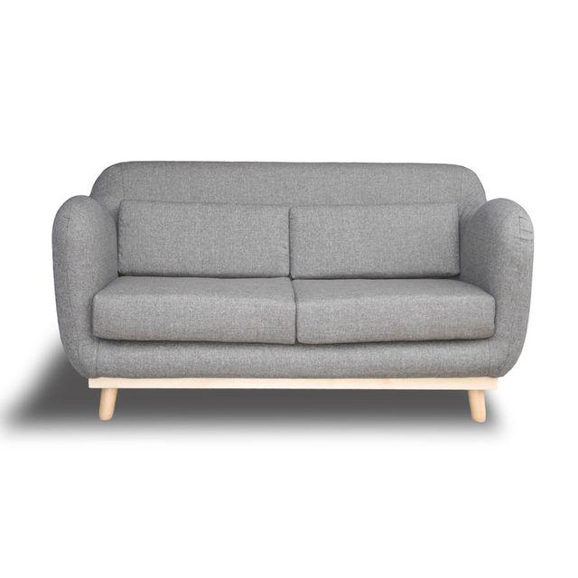 Canapé fixe droit 2 places en tissu gris clair avec piètement bois clair ALAN