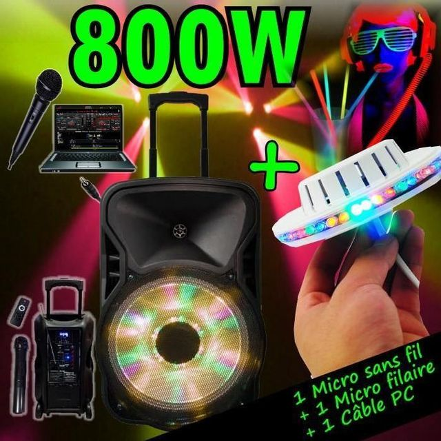 Ibiza Light Enceinte sono 800w portable - usb mp3 - sd - bluetooth - tuner - 2 micros - 1 ufo de 48 leds - 100 bracelets fluo pa dj