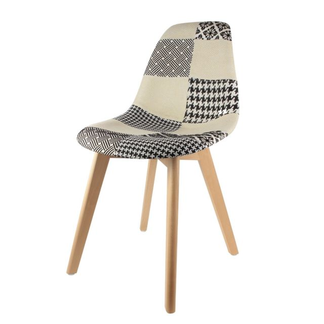 the home deco factory chaise scandinave patchwork h 85 cm noir et blanc multicolore pas cher achat vente chaises rueducommerce - Chaise Scandinave Multicolore