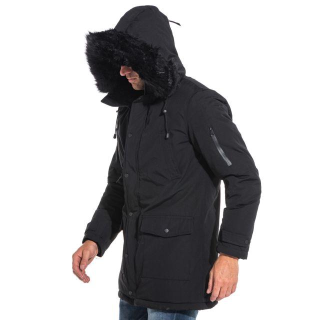 7b8dcb028 Parka manteau homme long noir à capuche fausse fourrure