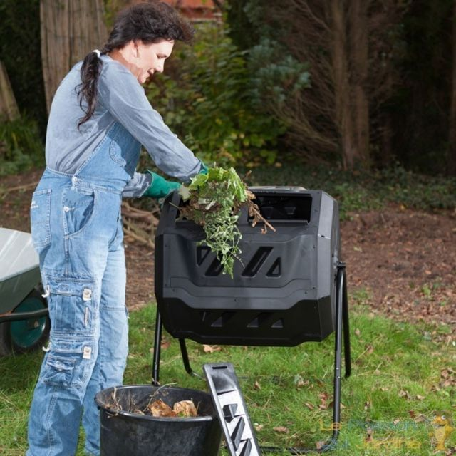 Le Poisson Qui Jardine Composteur de 160 litres pour jardin. Système rotatif