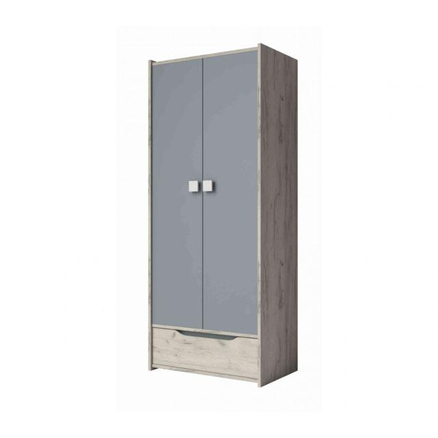 TERRE DE NUIT Armoire enfant 2 portes 1 tiroir en bois imitation frêne et gris - AR4025