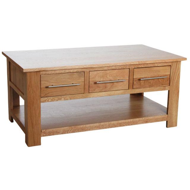 AUBRY GASPARD Table basse 6 tiroirs en chêne massif