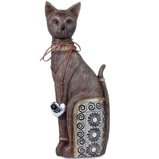Signe Statuette Chat en résine marron 37 cm