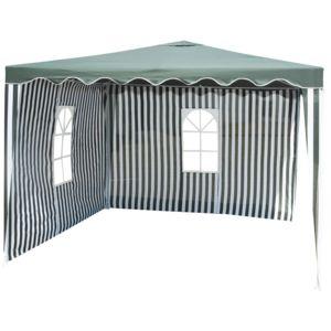 carrefour alzira tonnelle avec 2 rideaux vert et blanc blanc et vert pas cher achat. Black Bedroom Furniture Sets. Home Design Ideas