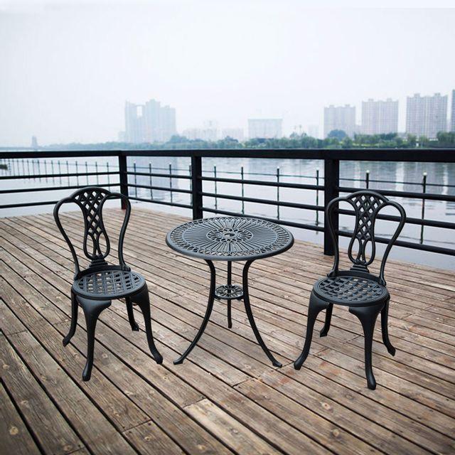 HOMCOM - Salon de jardin mobilier de jardin 2 chaises + 1 ...