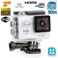 Yonis - Caméra sport étanche WiFi 2' Full Hd 1080p time lapse 170° argent 64Go