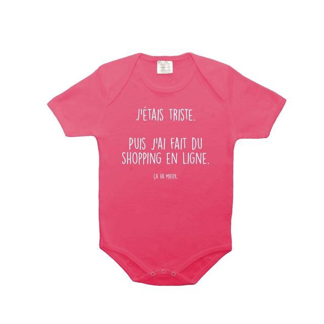 Mygoodprice - Body bébé 100% coton triste shopping en ligne 0-3 mois Rose 5f72ac4cdd1