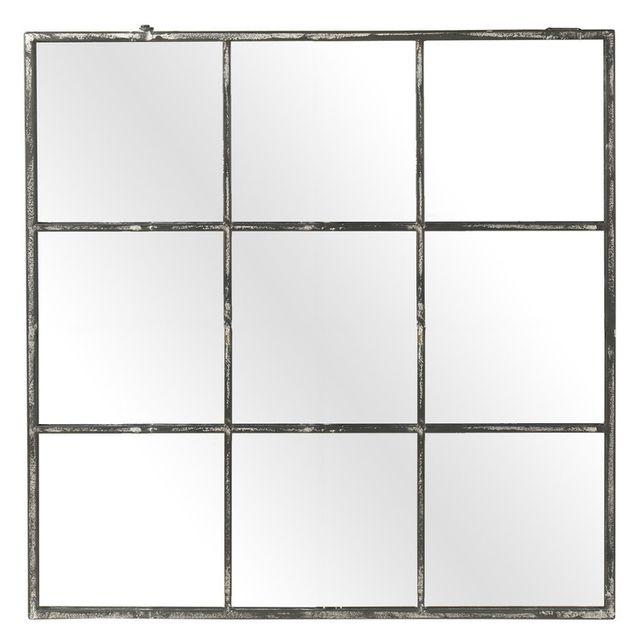 Pomax Miroir fenêtre carré en métal 118x118cm Factory - Métal