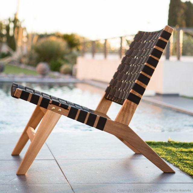 Axe Design - Fauteuil bas de jardin en teck brut et corde tressée Ethnika Taupe