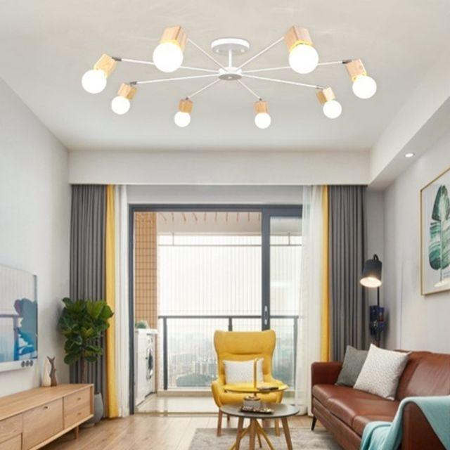 Lampe suspendue Luminaire Salon Salle de séjour simple, atmosphère moderne,  maison, chambre, plafonnier style Macaron à Led, 8 têtes, blanc