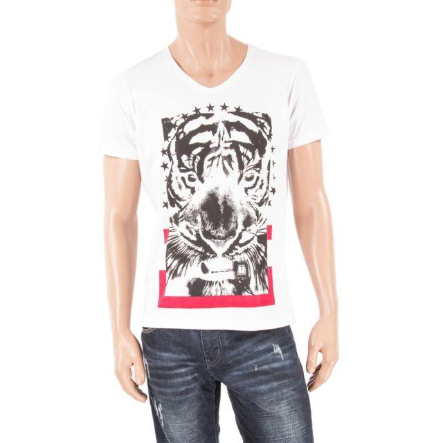69f895acde980 Best Mountain - T-shirt blanc et noir col V homme Tiger XL - pas cher Achat    Vente Tee shirt homme - RueDuCommerce
