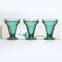Arc - Coupes à Glaces x3 à pied verre coloris Turquoise