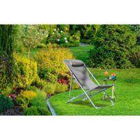 Chaise De Jardin - Fauteuil De Jardin - Tabouret De Jardin Fauteuil relax  avec tetiere en textilene - 57 x 56 x 74 cm - Gris