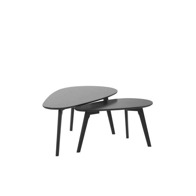 BELIANI Lot de 2 tables basses noires FLY III - blanc