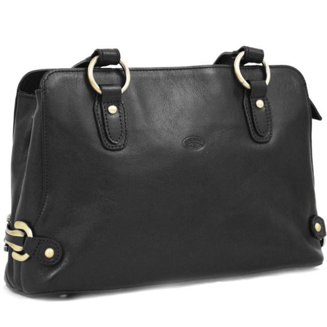 sac main cuir noir solde