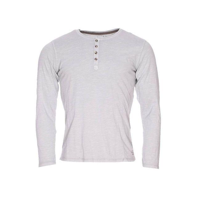 0c9a6e85ff53 Teddy Smith - Tee-shirt manches longues Turner gris béton à col tunisien -  pas cher Achat   Vente Tee shirt homme - RueDuCommerce