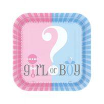 Unique Party - Assiettes Baby shower Girl or boy x8