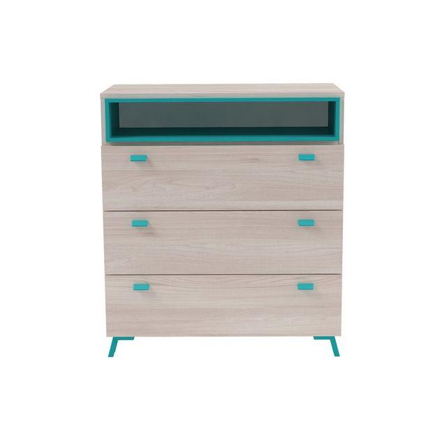 Marque Generique Commode 3 tiroirs et 1 niche décor bois L82 x H93 cm Niel - Bleu azur