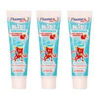 Fluomax - Lot de 3 Dentifrices Junior 3 à 6 ans - Goût fruits rouge
