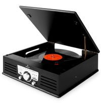 AUNA - TT-92B platine vinyle enceintes intégrées USB SD AUX FM noir