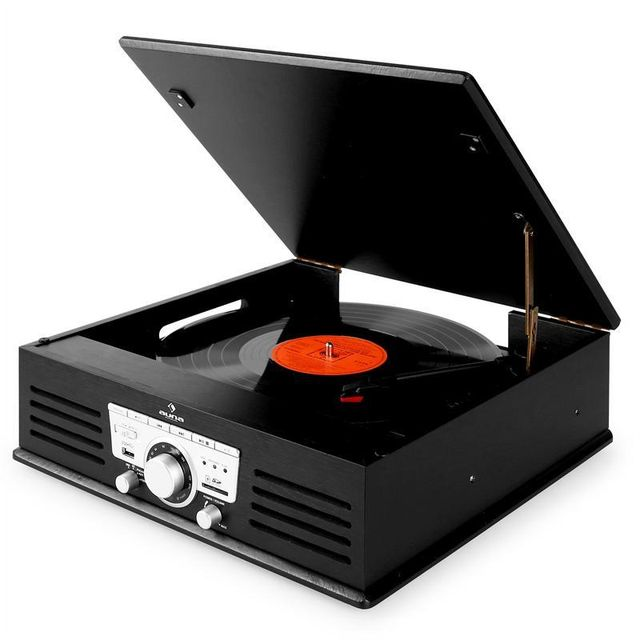 Auna tt 92b platine vinyle enceintes intégrées usb sd aux fm noir