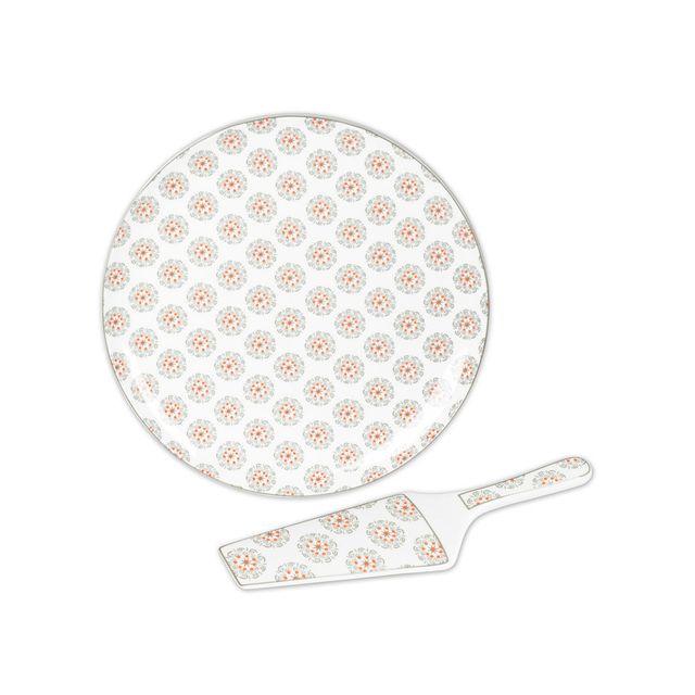 Table Passion Plat à tarte + pelle en porcelaine D.31cm motif floral gris et orange- Set de 2 pièces Goya