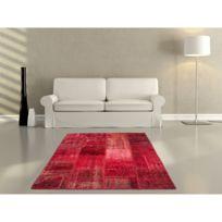 Deladeco - Véritable tapis patchwork en laine et noué main rouge Humma