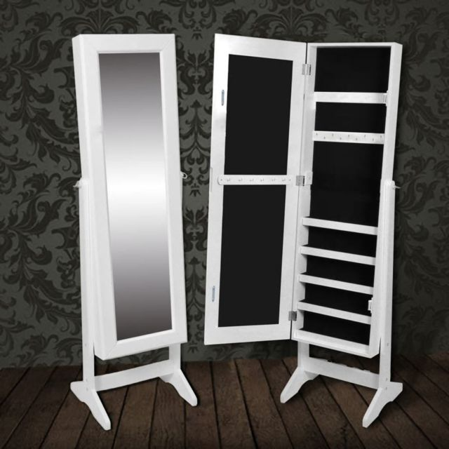 Armoire à Bijoux rangement miroir meuble chambre blanc