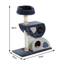PAWHUT - Arbre à chat design avant-gardiste griffoir double antre douillet plateforme d'observation 75L x 35l x 86H cm noir bleu beige gris neuf 97