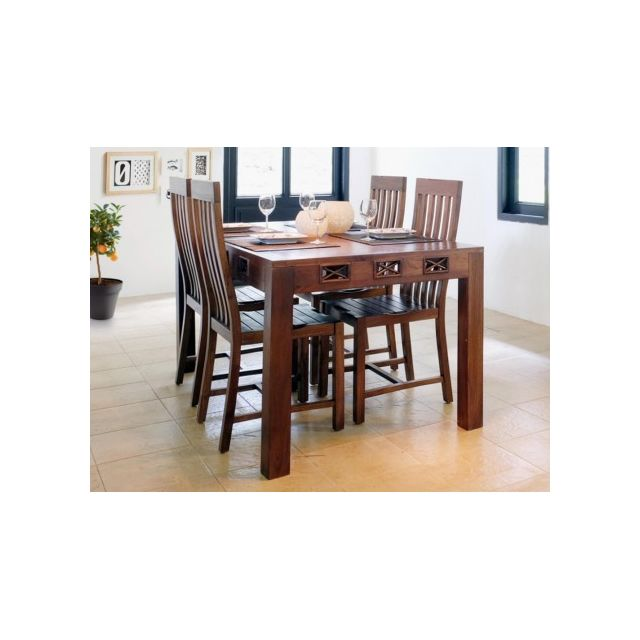 Vente unique table manger jakarta ii 6 couverts teck massif pas cher achat vente for Carrefour table a manger
