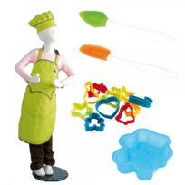 Mastrad - Kit cuisine enfant - toque + tablier + 10 emporte-pièce + spatule + moule ourson