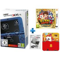 NINTENDO - New 3DS XL Bleu Métallique + Yo-Kai Watch 2 Fantômes Bouffis + Chargeur + Protecteur Duraflexi Jibanyan Yo-Kai Watch