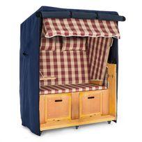 BLUMFELDT - Set Abri plage cabine chaise longue 2 places housse/roulettes - rouge
