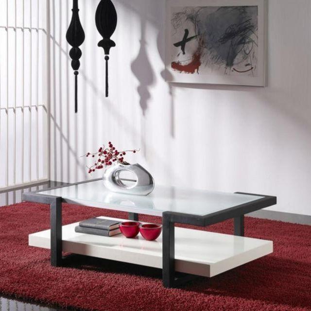 Sofamobili Table basse en verre blanche et grise Sabine