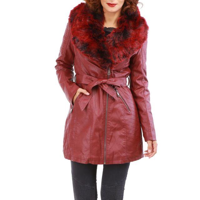 Lamodeuse - Manteau bordeaux en simili cuir avec col fausse fourrure ... d01ae63a89a