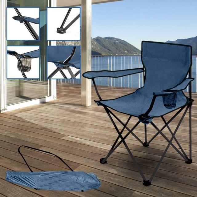 idmarket fauteuil camping pliant bleu avec housse pas. Black Bedroom Furniture Sets. Home Design Ideas