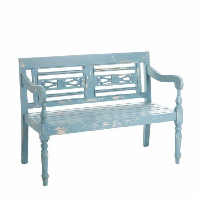 Ma Maison Mes Tendances Banc en bois bleu avec dossier Marion - L 118 x l 60 x H 87
