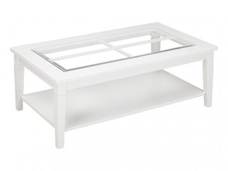 Table Basse Blanche Verre.Vente Unique Table Basse Guerande Pin Blanc Et Verre